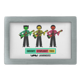 Moody Stoplight Trio Mustachio Guitar Players 1 Rectangular Belt Buckle