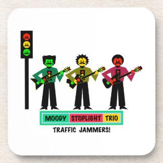 Moody Stoplight Trio Mustachio Guitar Players 2 Beverage Coaster