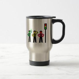 Moody Stoplight Trio Next to Moody Stoplight Travel Mug