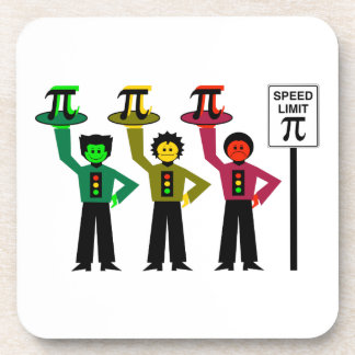 Moody Stoplight Trio Next to Speed Limit Pi Sign Coaster