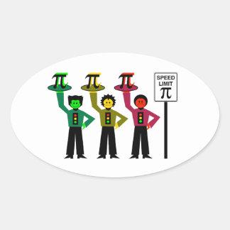 Moody Stoplight Trio Next to Speed Limit Pi Sign Oval Sticker