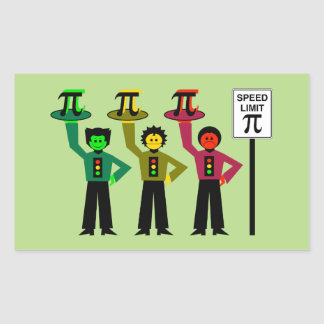 Moody Stoplight Trio Next to Speed Limit Pi Sign Rectangular Sticker