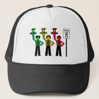 Moody Stoplight Trio Next to Speed Limit Pi Sign Trucker Hat