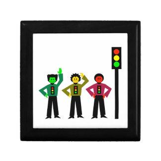 Moody Stoplight Trio Next to Stoplight Jewelry Box