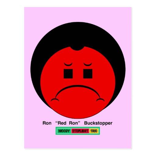 Moody Stoplight Trio Ron Buckstopper Face w Label Postcard