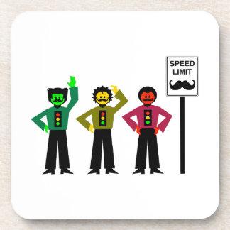Moody Stoplight Trio Speed Limit Mustachio Coaster