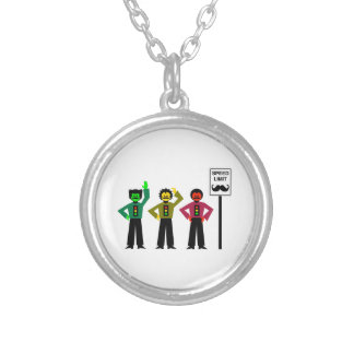 Moody Stoplight Trio Speed Limit Mustachio Silver Plated Necklace
