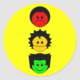 Moody Stoplight Trio Vertical Faces Classic Round Sticker