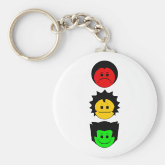 Moody Stoplight Trio Vertical Faces Keychain