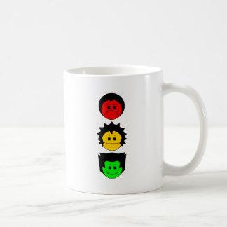 Moody Stoplight Trio Vertical Faces Classic White Coffee Mug