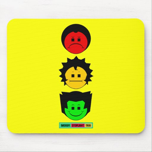 Moody Stoplight Trio Vertical Faces with Label Mouse Pad