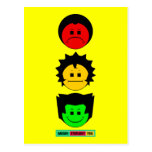 Moody Stoplight Trio Vertical Faces with Label Postcard