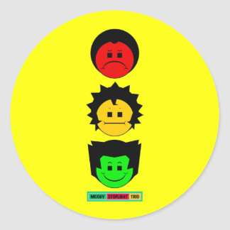 Moody Stoplight Trio Vertical Faces with Label Sticker