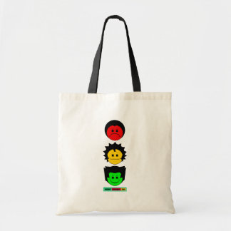 Moody Stoplight Trio Vertical Faces with Label Tote Bag
