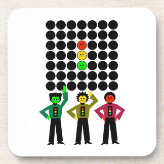 Moody Stoplight Trio w Moody Stoplight Black Dots Beverage Coaster
