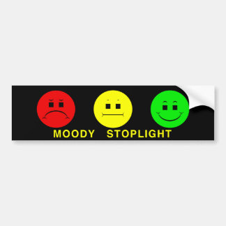 Moody Stoplight Trio with Caption Bumper Sticker