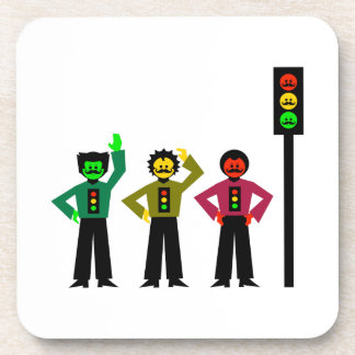 Moody Stoplight Trio with Handlebar Mustaches 1 Drink Coaster