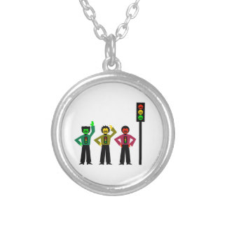 Moody Stoplight Trio with Handlebar Mustaches 1 Silver Plated Necklace
