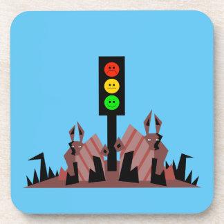 Moody Stoplight with Bunnies Beverage Coaster