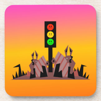 Moody Stoplight with Bunnies, Dreamy Background Beverage Coaster