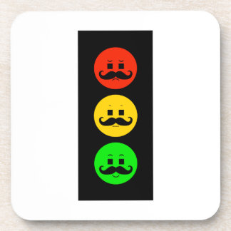 Moody Stoplight with Handlebar Mustaches Drink Coaster