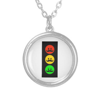 Moody Stoplight with Handlebar Mustaches Silver Plated Necklace