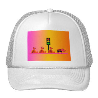 Moody Stoplight with Heart Caravan, Dreamy Backgnd Trucker Hat
