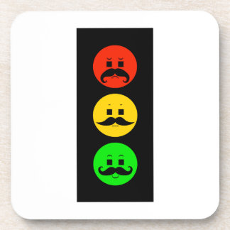 Moody Stoplight with Mustachios Beverage Coaster