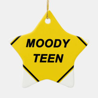 """""""Moody Teen"""" Double-Sided Star Ceramic Christmas Ornament"""
