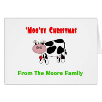 'Moo'ey Christmas Add Your Name Cow Humor Card