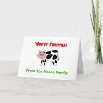 'Moo'ey Christmas Add Your Name Cow Humor Holiday Card