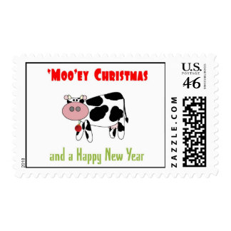 'Moo'ey Christmas and Happy 'Moo' Year Cow Dairy H Stamp