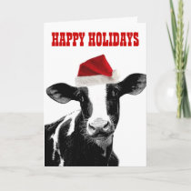 Mooey Christmas and Happy Moo Year Holiday Card