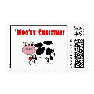 'Moo'ey Christmas Cow Humor Stamps
