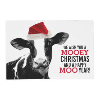 Mooey Christmas Cow in Santa Hat Placemat