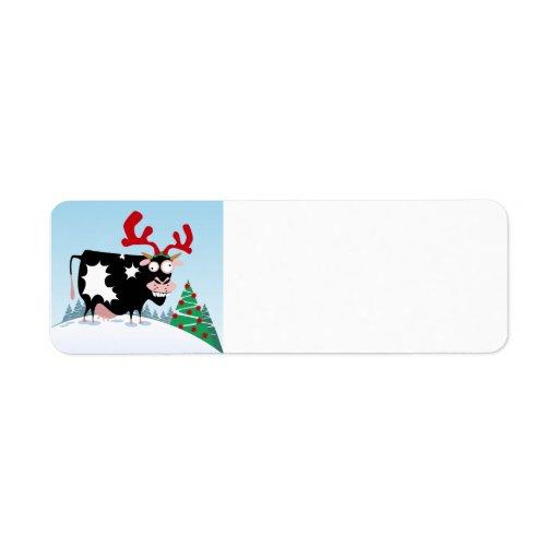 Mooey Christmas Cow Return Address Label