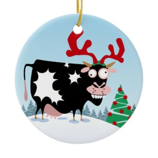 Mooey Christmas Cow ornament