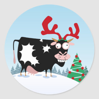 Mooey Christmas Cow Round Stickers