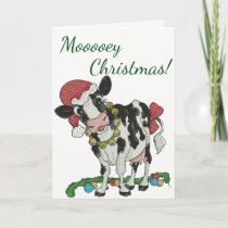 Mooey Christmas! Cow-Themed Christmas Card