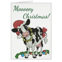 Mooey Christmas! Cow-Themed Christmas Card