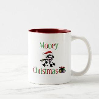 Mooey Christmas Cow Two-Tone Coffee Mug