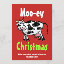 Mooey Christmas Funny Cow Flat Holiday Card