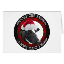 Mooey Christmas Happy Moo Year Santa Hat Cow Card