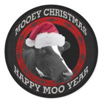 Mooey Christmas Happy Moo Year Santa Hat Cow Classic Round Sticker