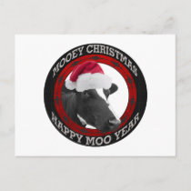 Mooey Christmas Happy Moo Year Santa Hat Cow Holiday Postcard