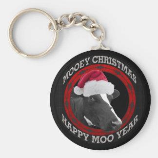 Mooey Christmas Happy Moo Year Santa Hat Cow Keychain