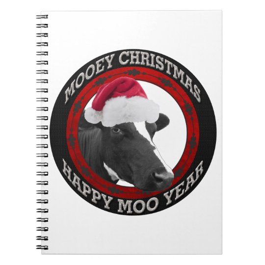 Mooey Christmas Happy Moo Year Santa Hat Cow Notebook