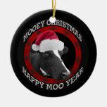 Mooey Christmas Happy Moo Year Santa Hat Cow Christmas Tree Ornament