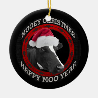 Mooey Christmas Happy Moo Year Santa Hat Cow Double-Sided Ceramic Round Christmas Ornament