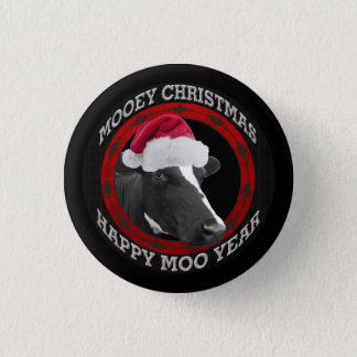 Mooey Christmas Happy Moo Year Santa Hat Cow Pinback Button